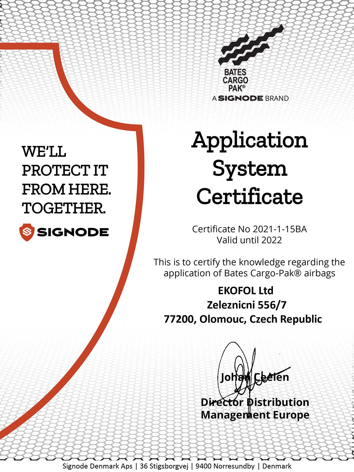 Bates Cargo Pak certificate 2021